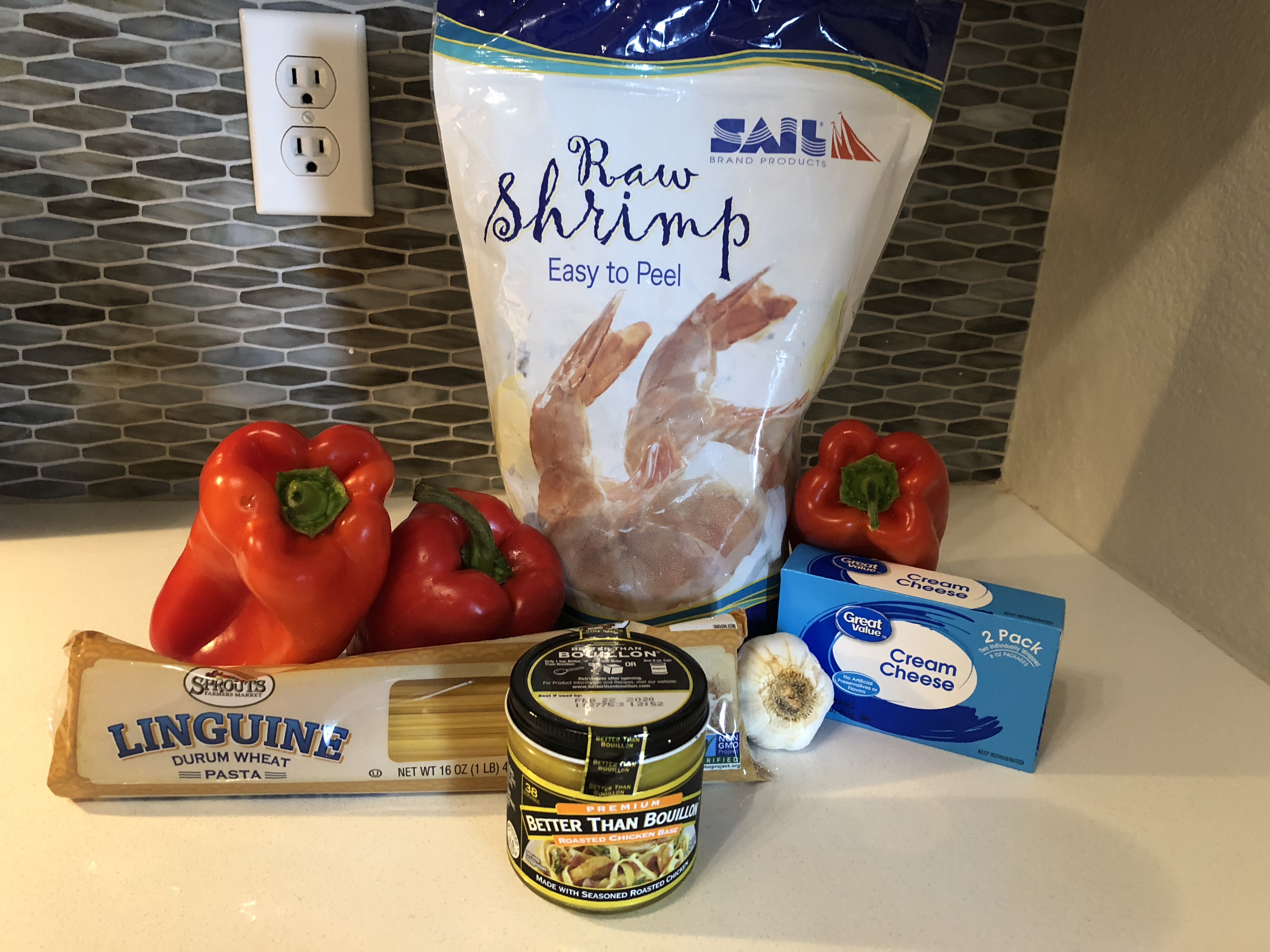ingredients for Shrimp with Roasted Red Pepper Cream Sauce over pasta