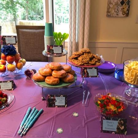 Descendants party food table