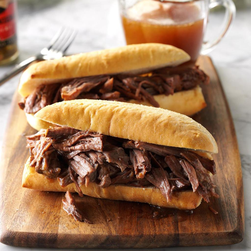 French Dip Roast Beef Sandwiches made in crock pot