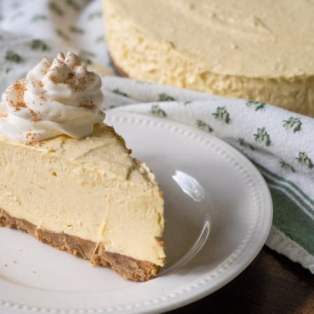 No Bake Pumpkin Spice Eggnog Cheesecake